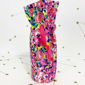 Lilly Pulitzer • Pink Floral Print Wine Tote Bag